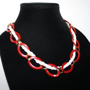 """Vintage red gold and white Monet necklace 20"""""""